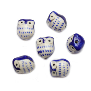 Blue Ceramic Owl 15mm BeadsBeads by Halcraft Collection