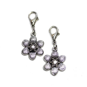Silver with Rhinestone Flower 16mm Charms - 2pcsCharm by Halcraft Collection