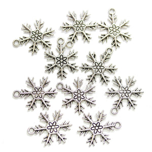 Silver Plated Snowflake 20mm Charms - 10pcsCharm by Halcraft Collection