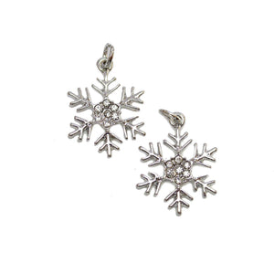 Silver Plated Snowflake with Rhinestones 17mm Charms - 2pcsCharm by Halcraft Collection