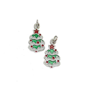 Enameled Metal Christmas Tree 12x23mm Charms - 2pcsCharm by Halcraft Collection
