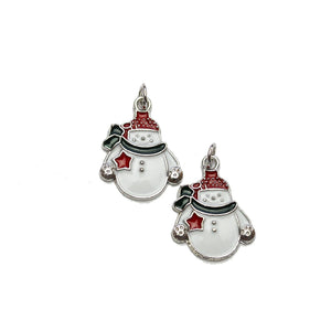 Enameled Metal Snowman 16x20mm Charms - 2pcsCharm by Halcraft Collection
