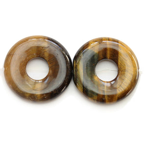 Tiger Eye Stone (A Quality) Round Donut 31mm BeadsBeads by Halcraft Collection