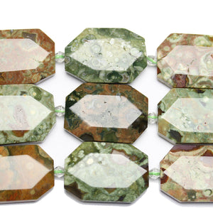 Cuentas rectangulares de piedra facetada de jaspe oceánico teñido de 23 x 33 mm de Halcraft Collection