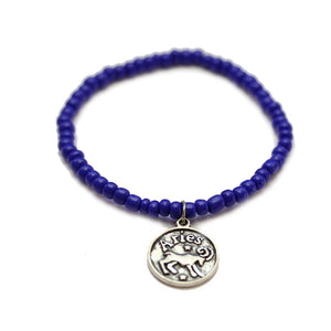 Glass Bracelet with Aries Zodiac CharmBracelets by Halcraft Collection