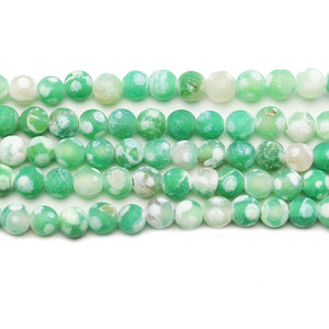 Green & White Dyed Agate Matt Stone Round 6mm BeadsBeads by Halcraft Collection