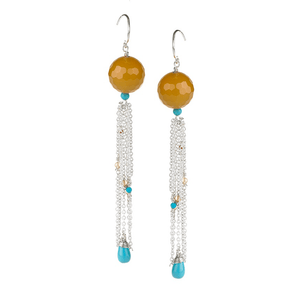 Turquoise, long, Chain, Silver Plated, Natural Stone, Earrings