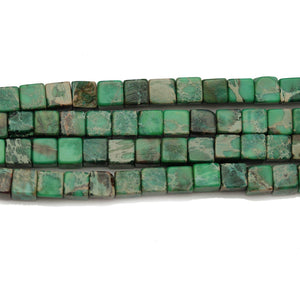 Green Dyed Imperial Jasper Stone Cube 5mm BeadsBeads by Halcraft Collection