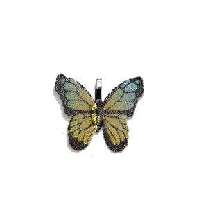Aqua & Gold Real Leaf Butterfly Shape 26x30mm PendantPendant by Halcraft Collection