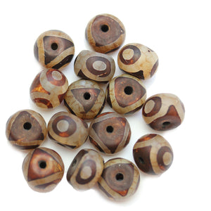 Brown & White Dyed Agate Stone Rondell 10x14mm BeadsBeads by Halcraft Collection