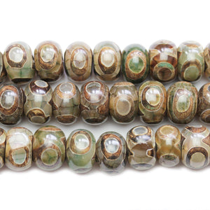 Brown & Green Dyed Crackle Agate Stone Rondells 10x15mm BeadsBeads by Halcraft Collection