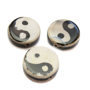 Brown Dyed Yin-Yang on White Agate Stone Disk 9x30mm BeadsBeads by Halcraft Collection