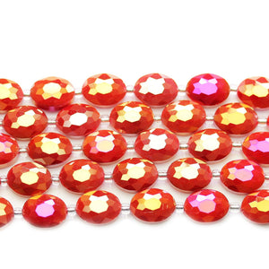 Glass Opaque Red AB Faceted Oval 9x12mm BeadsBeads by Halcraft Collection
