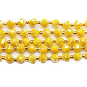 Glass Opaque Yellow AB Faceted Cube 8mm BeadsBeads by Halcraft Collection