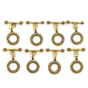 Toggles de metal con baches en tono dorado de 16 mm Halcraft Collection