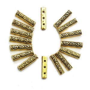 Gold Tone Filigree 3 Hole Spacer Bar 4x16mmFindings by Halcraft Collection