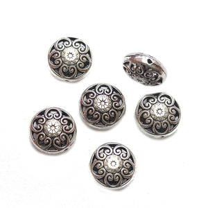 Antique Silver Tone Heart Filigree Lentil 17mm BeadsBeads by Halcraft Collection
