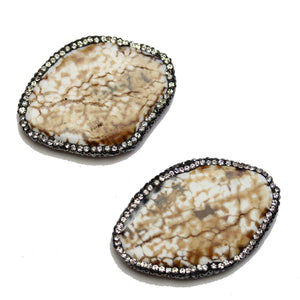 Crackle Agate Stone with Rhinestones Oval 30x44mm BeadsBeads by Halcraft Collection
