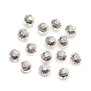 Cuentas redondas de 10 mm de metal bañado en plata de Halcraft Collection