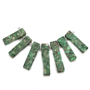 Dark Green Reconstituted Stone Top Hole Necklace Center with SpacersBeads by Halcraft Collection