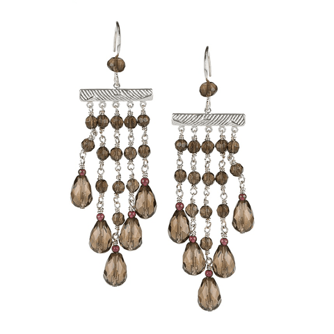 Chandelier , Silver Plated, Natural Stone, Earrings, Smoky