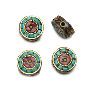 Cuentas de lentejas de mosaico de piedra y metal de 16 mm de Halcraft Collection