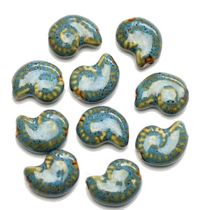 Aqua Glaze on White Ceramic Conch 15x20mm BeadsBeads by Halcraft Collection