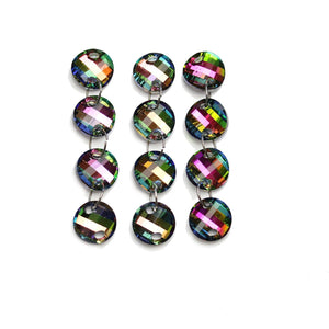 Super Bundle - Multi Glass Lentil 18mm Faceted Link (3packs/24pcs)Beads by Halcraft Collection