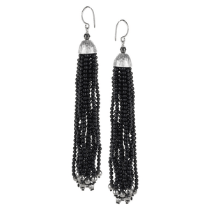 Black Onyx & Pyrite Tassel with Lined Textured CapJewelry by Halcraft Collection