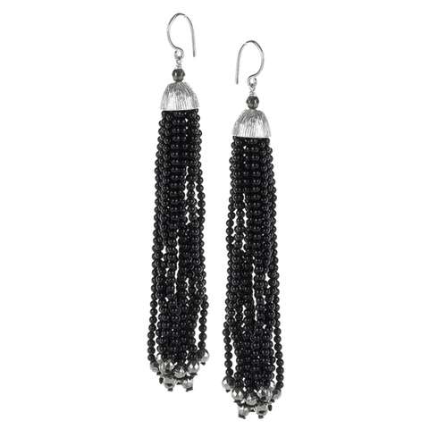 Onyx, Tassel, Textured, Cap, Silver Plated, Natural Stone, Earrings, Black