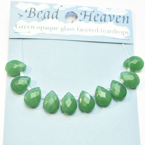 Super Bundle - Green Faceted Glass Teardrop 9x12mm Beads by Bead Gallery