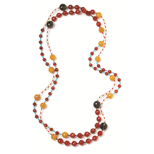 "70"" Smokey & Yellow Quartz Necklace with Carnelian & Turquoise BeadsJewelry by Halcraft Collection"