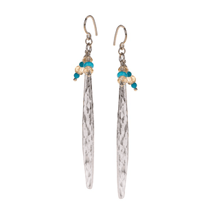 Silver, Long, Silver Plated, Natural Stone, Earrings, Turquoise, Amber