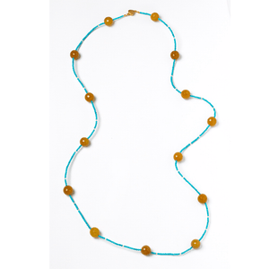 Long, Turquoise, Silver Plated, Natural Stone, Necklace, Turquoise, Amber
