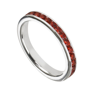 Dark Orange Cubic Zirconia & Sterling Silver Channel-Set BandRings by Halcraft Collection