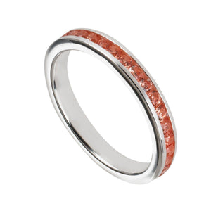 Light Orange Cubic Zirconia & Sterling Silver Channel-Set BandRings by Halcraft Collection