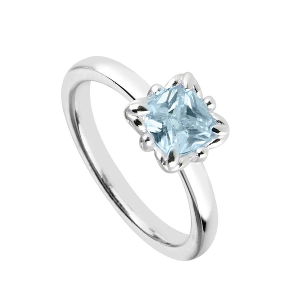 Rings, Light Blue, Blue, Silver, Sterling Silver, Cubic Zirconia, 4, 5, 6, 7, 8, 9