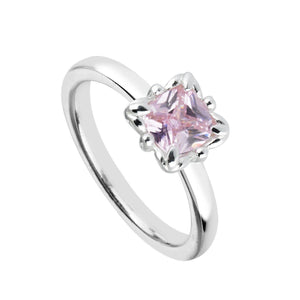 Pink Cubic Zirconia & Sterling Silver Cushion-Cut RingRings by Bead Gallery