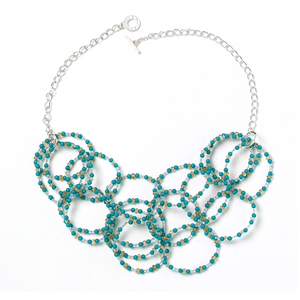 Turquoise & Citrine Loop NecklaceJewelry by Halcraft Collection