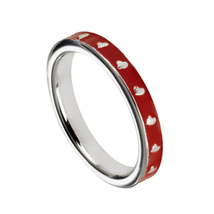 Heart Shape Design On Red Enamel BandRings by Bead Gallery