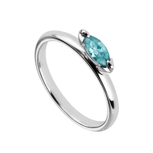 Light Blue Cubic Zirconia & Sterling Silver Marquise-Cut RingRings by Bead Gallery