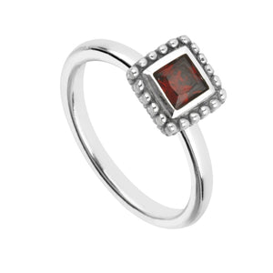 Square Garnet Round Cubic Zirconia Bezel with Oxide Bezel EnamelRings by Bead Gallery