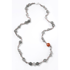Warp Around, Long, Double, Carnelian, Silver Plated, Natural Stone, Necklace, Red, Rose, Orange, Amber