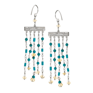 Long, Silver, Chandelier, Silver Plated, Natural Stone, Earrings, Turquoise, Amber