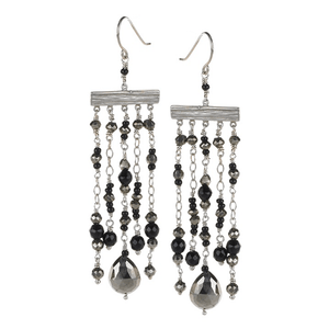 Long, Silver, Chandelier, Silver Plated, Natural Stone, Earrings, Black, Gold