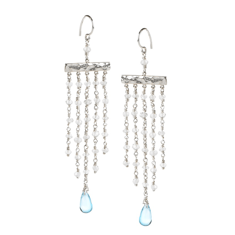 Topaz, Long, Chandelier, Silver Plated, Natural Stone, Earrings, Blue