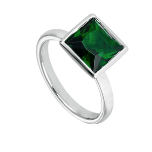 Rings, Dark Green, Green, Sterling Silver, Cubic Zirconia, 4, 5, 6, 7, 8, 9