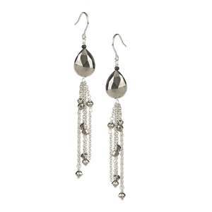 Pyrite Drop with Chain EarringsJewelry by Halcraft Collection