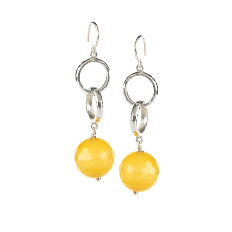 Circle, Hammered, Rings, Silver Plated, Natural Stone, Earrings, Yellow