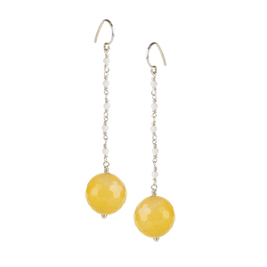Yellow Quartz with White Jade ChainJewelry by Halcraft Collection